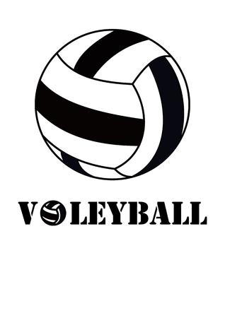 Diseño gráfico del ejemplo del vector de la bola y del texto blanco y negro del voleibol Foto de archivo