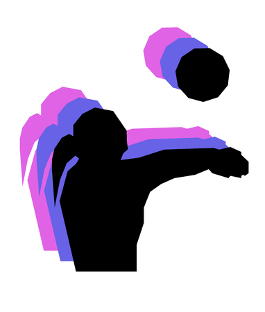 Volleyball player girl with ball low poly isolated Stock fotó