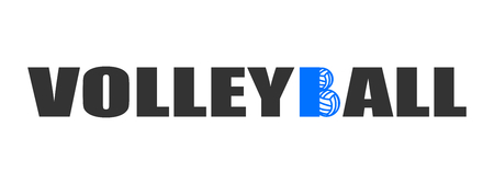 Text Volleyball logo with balls blue Stock fotó
