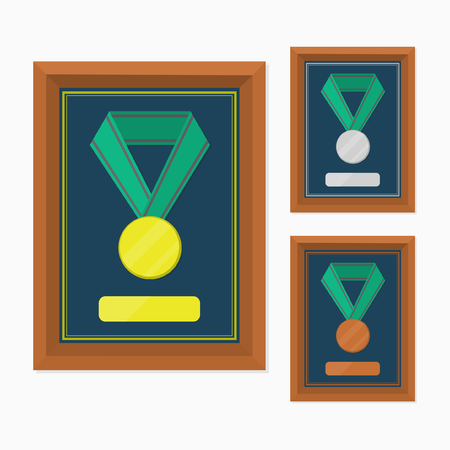 challange: three medals with gold, silver, and bronze, each one in frame