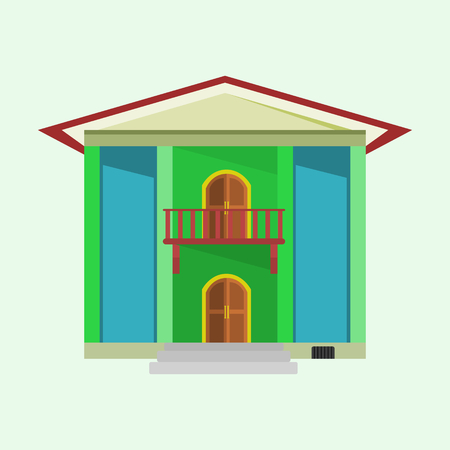 residential homes: house with two doors and green color