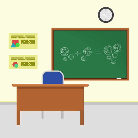 addition: classroom with addition using gears on the green chalkboard