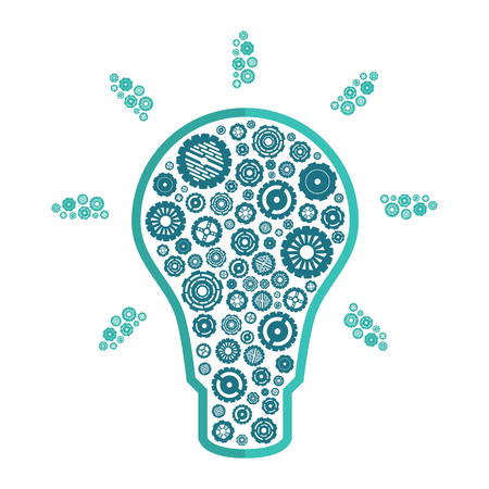 contemplate: shining light bulb with blue gears inside