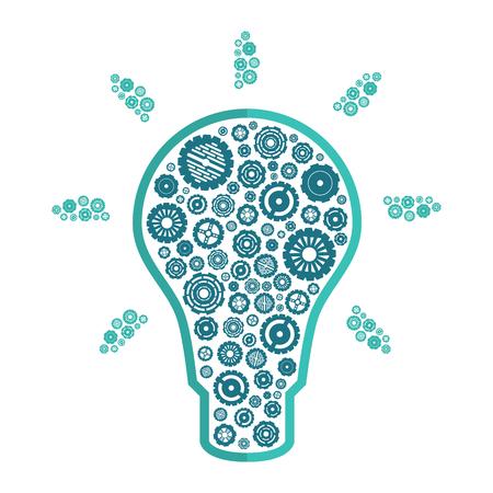 shining light: shining light bulb with blue gears inside