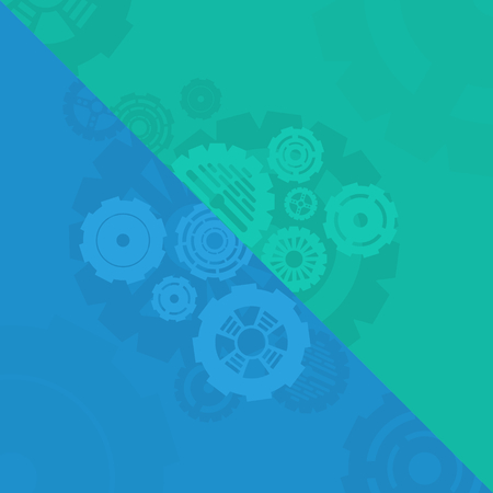 blue green background: background with blue and green gears Illustration