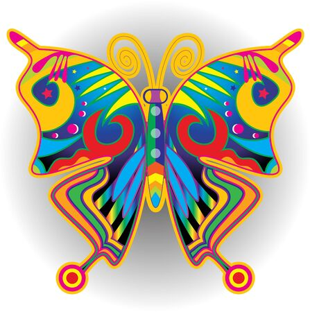 Colorful butterflies retro illustration. Stockfoto