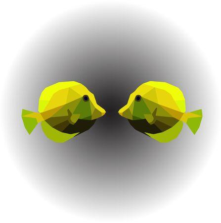 Yellow fishs in low polygon illustration. Standard-Bild - 128768705