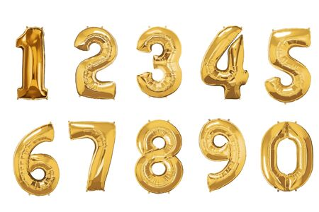 Golden balloons numbers 1 to 9 on white background.