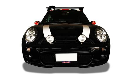 Front view of black car on white background.