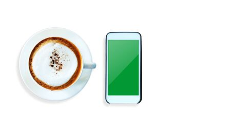 Top view Cappuccino coffee and smart phone on white background.