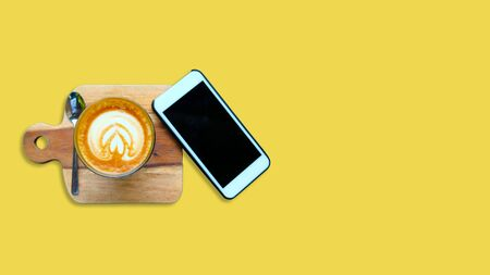 coffee, latte, white, background, view, cup, top, drink, table, screen, art, cafe, technology, yellow, blank, phone, smartphone, breakfast, food, mobile, business, caffeine, closeup, hot, concept, cappuccino, smart, wooden, aroma, black, desk, office, life, morning, love, heart, modern, beverage, mug, computer, note, creative, touch, vintage, workspace, space, empty, espresso, milk, sweet
