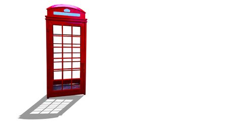 Old red telephone booth on the White Blackground. Reklamní fotografie