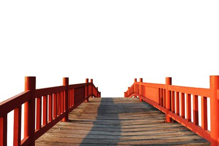 Red wooden bridge on white background. Reklamní fotografie