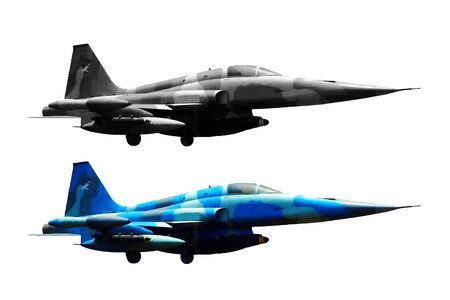 Two Fighter plane jet on white background.
