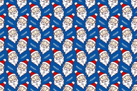Pattern Santa claus head drawing on blue background.