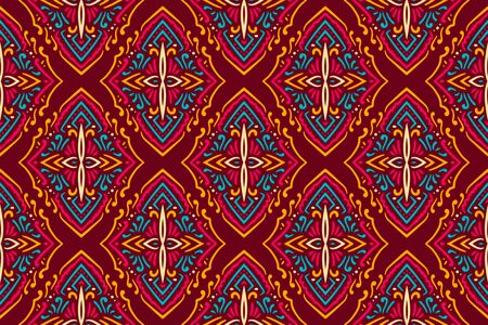 Beautiful Colorful patterns on red background.