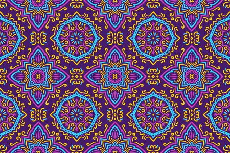 Beautiful Colorful patterns thailand style on purple background.