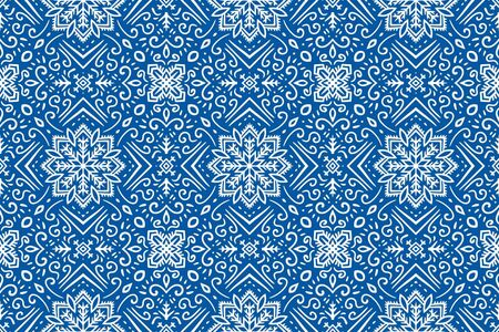 White patterns thailand style on blue background.