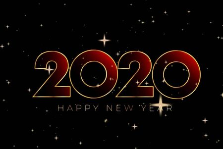 Text 2020 HAPPY NEW YEAR with golden sparkle on black background.