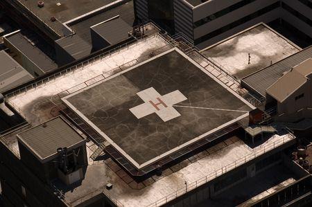 helipad: Hospital Roof Top Helipad Stock Photo