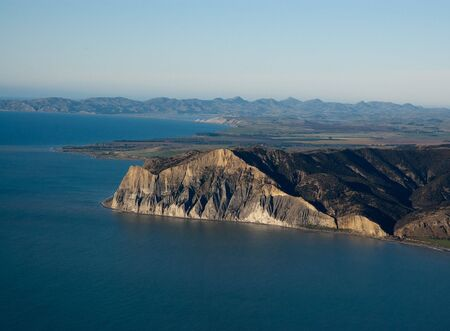 nz: Aerial view of sheer cliffs near Blenheim, NZ Stock Photo