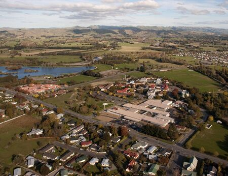 nz: Aerial view of rural hospital in Masterton, NZ