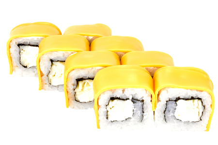 Sushi roll japanese food isolated on white background california sushi roll dietary in cheese closeup japanese restaurant menu Stok Fotoğraf