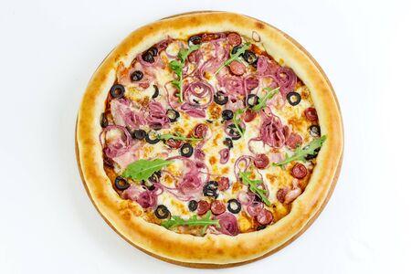 Tasty appetizing pizza isolated on white background