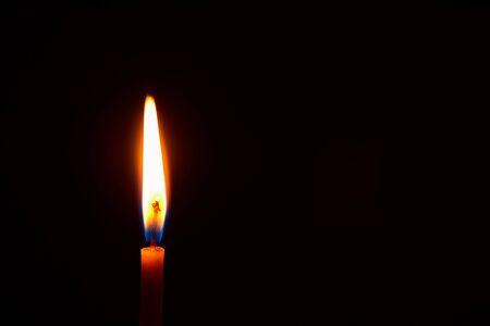 church candle burning in the dark creates a spiritual atmosphere