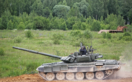 Russian main battle tank. Military training ground Alabino. Demonstrations Forum Army 2015