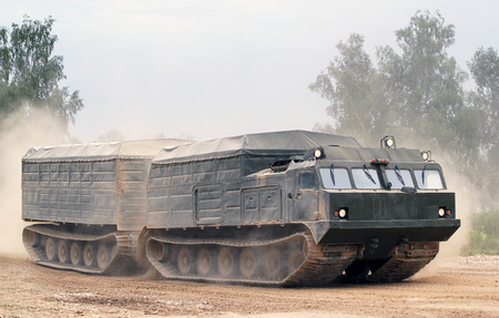 Military trucks in the field. Russian military training ground Alabino. Demonstrations Forum Army 2015 Editorial