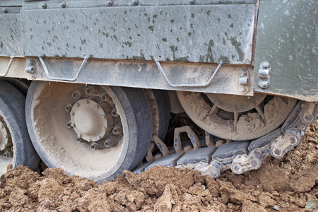 Tracks of the military tank, dirt, summer, russian army, forum Army 2015