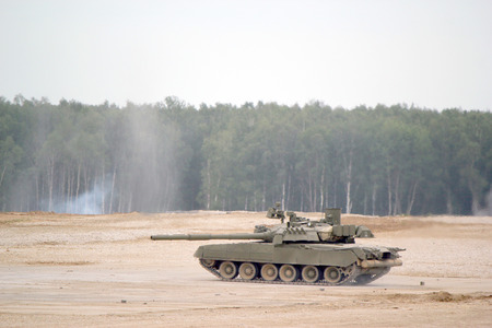 Russian main battle tank T-80. Military training ground Alabino. Demonstrations Forum Army 2015