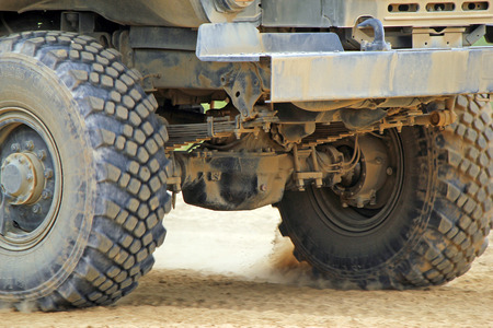 Close-up military trucks in the field. Russian military training ground Alabino. Demonstrations Forum Army 2015