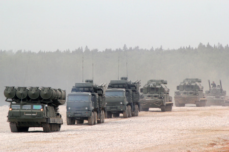A column of Russian armored vehicles at the demonstration, forum Army 2015