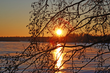 Sunset on the island of Kizhi, Karelia Russia Stock Photo