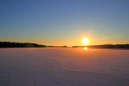 Sunset over the lake Onega, Karelia Kizhi island Russia