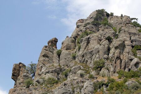 Amazing rock shapes on the slope of the mountain South Demerdzhi (Ghost valley), Crimea