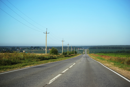 Country roads in Russia in the summer