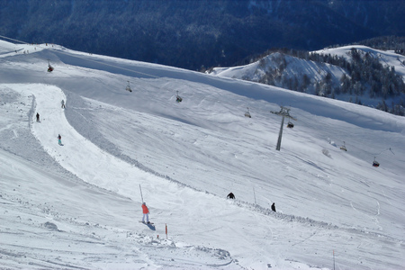Skiers and snowboarders 写真素材