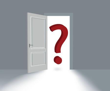 Big Red Question Mark soars in doorway. Фото со стока
