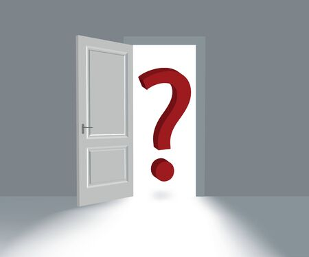 Big Red Question Mark soars in doorway. Иллюстрация