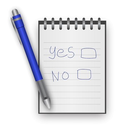 yes no: Yes and No written on notepad by blue pen.