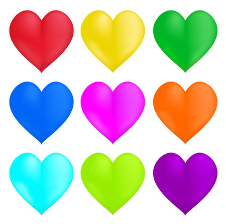 Nine of hearts of different colors. Set