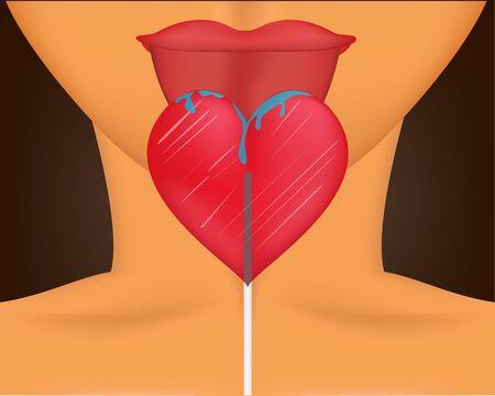 Somebody licks a lollipop that looks like a heart Illustration