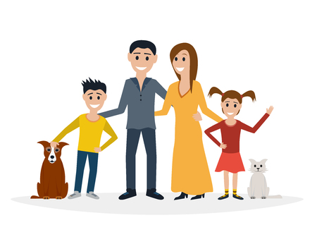 adolescent: Big family flat illustration.