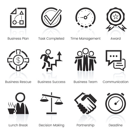 businessteam: Business icons set. Twelve different modern icons