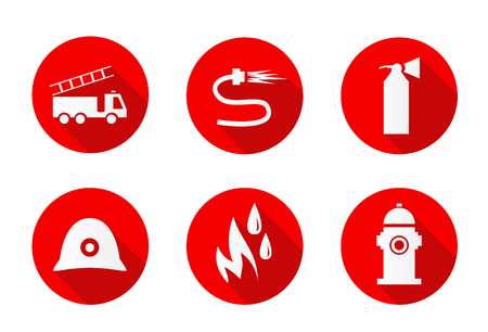 Six different flat firefighting icons set.