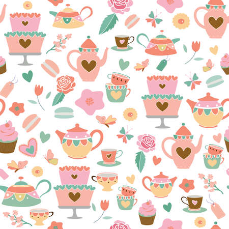 Vector coral pink sage green garden tea party seamless pattern background. Perfect for fabric, scrapbooking, wrapping paper, wallpaper projects. Vector illustration. Surface pattern design. Illustration