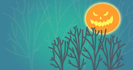 The halloween evilmoon in the autumn forest Stock Photo